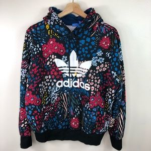 Adidas blue red black floral pullover hoodie Sz XL
